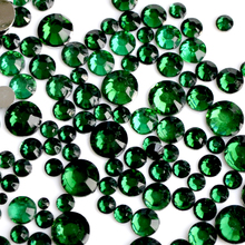 400 шт. 2-6 мм смешивания Размеры темно-зеленый изумруд ногтей Дизайн хрустальный шарик заклепки 3D Дизайн ногтей украшения Стразы маникюрные принадлежности N19