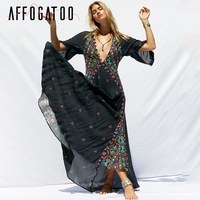 Affogatoo Sexy v nek kimono floral bobo dress women Ethnic print beach maxi dress black Casual button loose summer dressess 2019