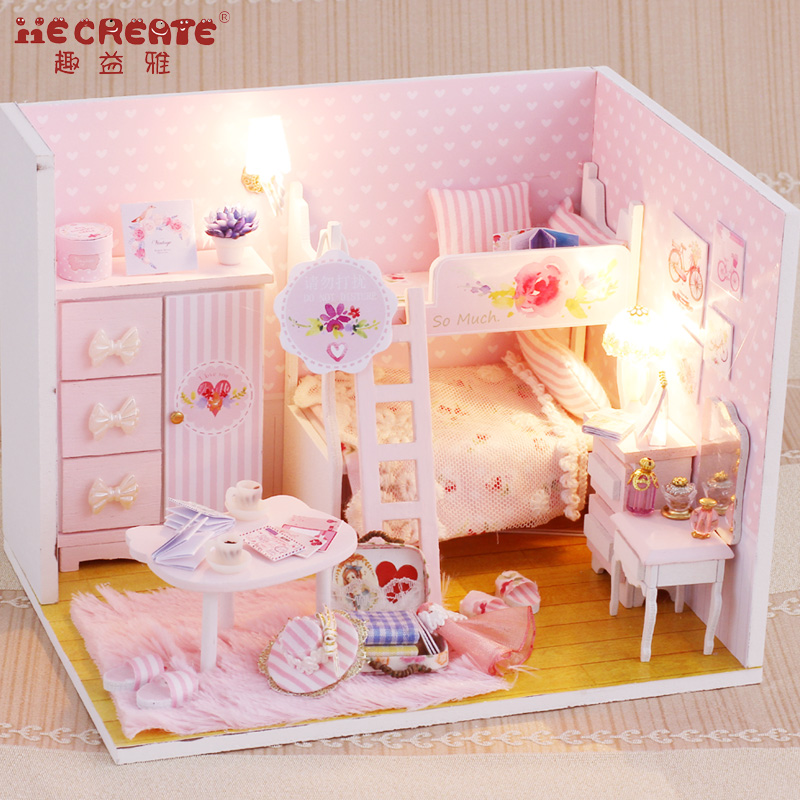 New Doll House Furniture Kits DIY Wood Dollhouse Miniature Puzzle Toys for Children Pink Girl Christmas Kids Gift DIY Doll HouseNew Doll House Furniture Kits DIY Wood Dollhouse Miniature Puzzle Toys for Children Pink Girl Christmas Kids Gift DIY Doll House