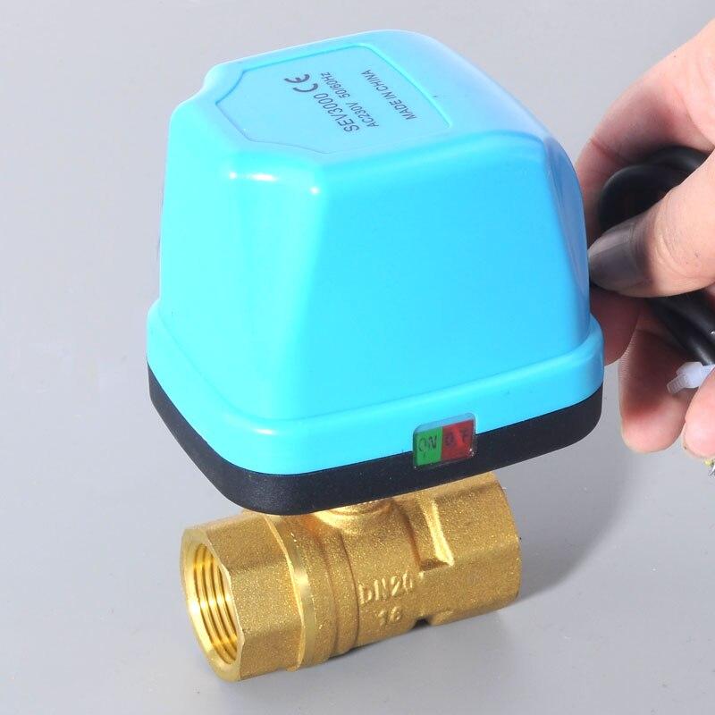 DN15 DN20 DN25 DN32 AC220V robinet à tournant sphérique motorisé en laiton à 2 voies, type de commutateur vannes cvc bidirectionnelles 1/2 3/4 1 2