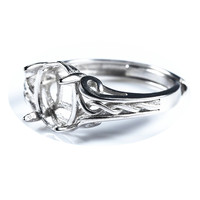 925 Sterling Silver 8x10mm Oval Cabochon Semi Mount Women Engagement Ring Fine Jewelry White Gold Color