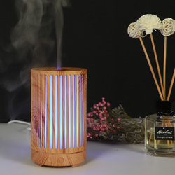 100ML Ultrasonic Air Humidifier Aroma Essential Oil Diffuser with Wood Grain 7 Color Changing LED Lights for Office Home