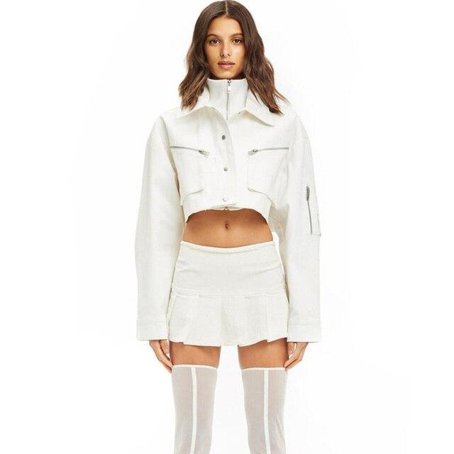 298cfceee9dd4 IAMGIA White Jeans Jacket Autumn short Coat INCEPERE JACKET denim women cropped  jacket 2018 new Turtleneck Longsleeve streetwear