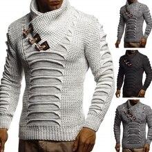 Men's Sweater Knitted Shawl Turtleneck Sweater Pullover Winter Long Sleeve Hip Hop Streetwear Pullover Slim Man's Sweater pullover shawl collar sweater