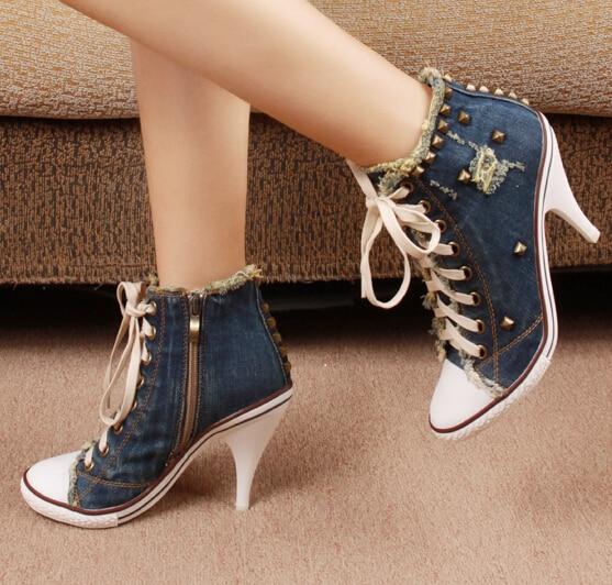 Style coréen femmes d'été denim talons hauts à lacets haut Rivets côté fermeture éclair mode décontracté Denim chaussures grande taille 42