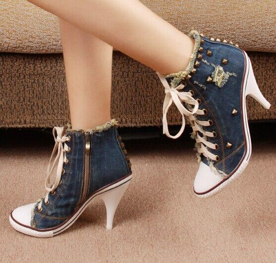 Latérale Chaussures Photo as Lacent Mode Top Haute Rivets De 42 Femmes D'été Coréen As Casual Glissière Taille Photo Hauts Style Grande Denim Talons NOkXw8n0P
