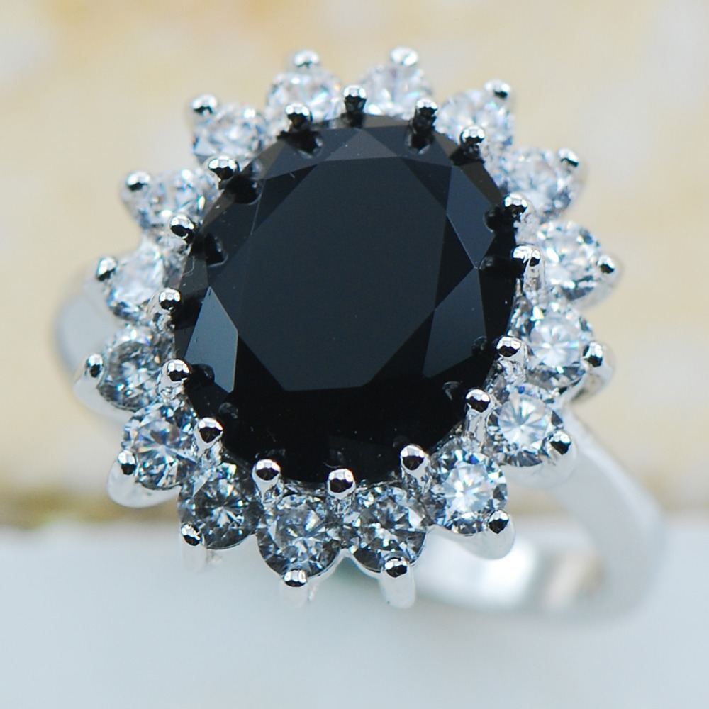 Black Onyx 925 Sterling Silver Top Quality Fancy Jewelry Wedding Ring Size  5 6 7 8