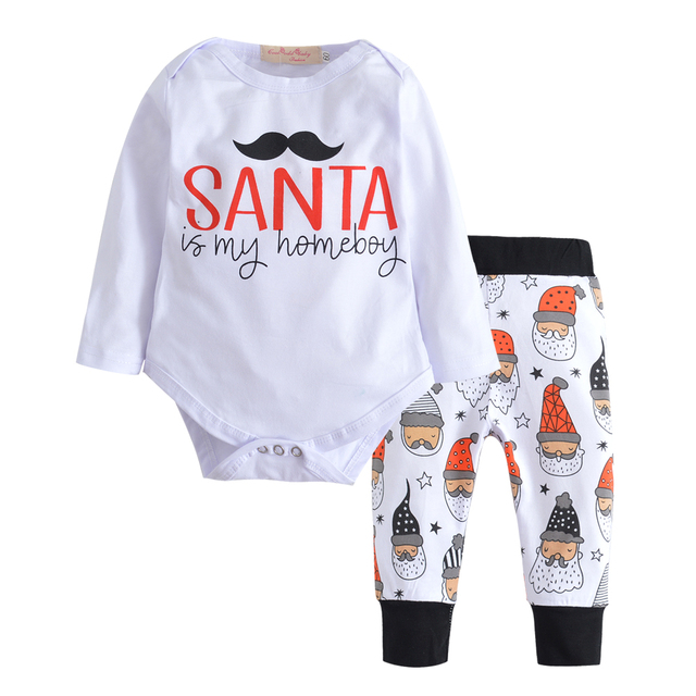 1b7f47800 Christmas Outfits Newborn Infant Baby Boy Clothes Cotton Long Sleeve T-shirt +Pants 2Pcs Baby Girls Clothing Set Casual Toddler
