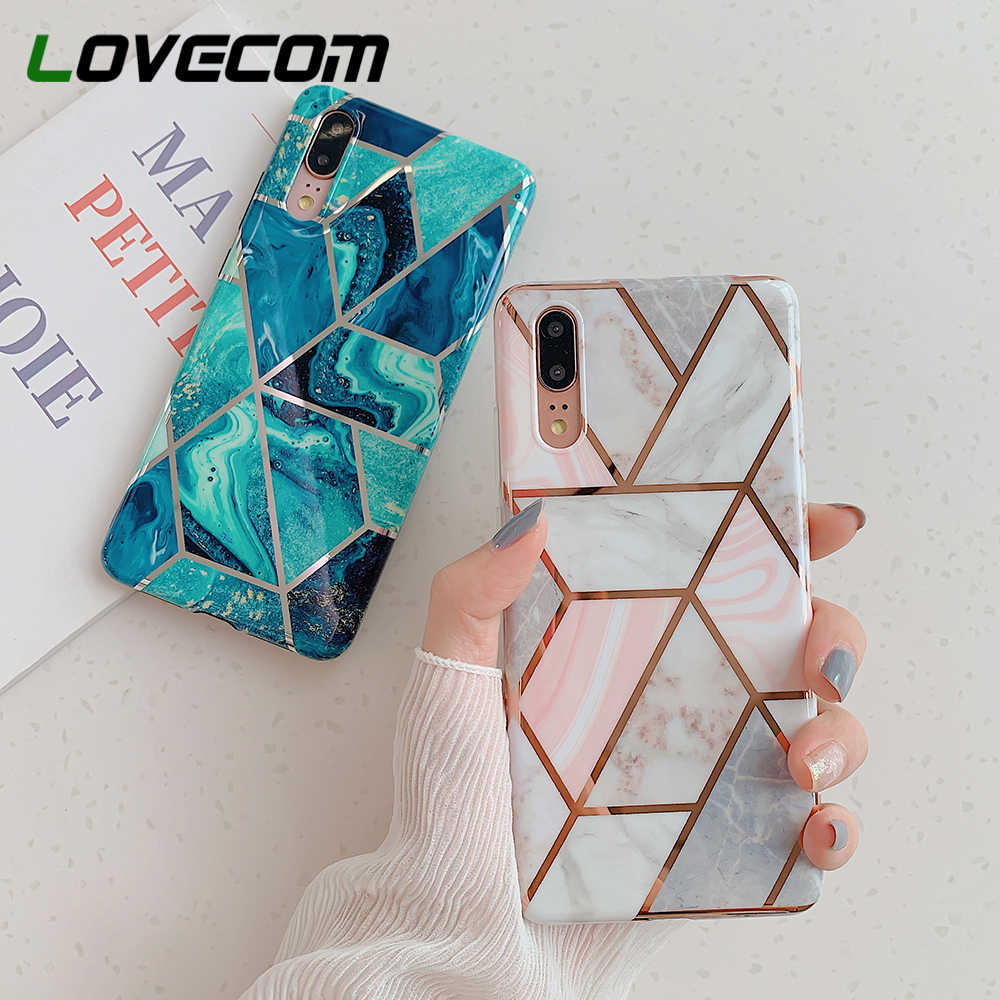 LOVECOM Electroplate Geometric Marble Phone Case For Huawei P20 P30 Pro Lite Mate 20 Pro Lite Anti-Shock Soft IMD Back Cover