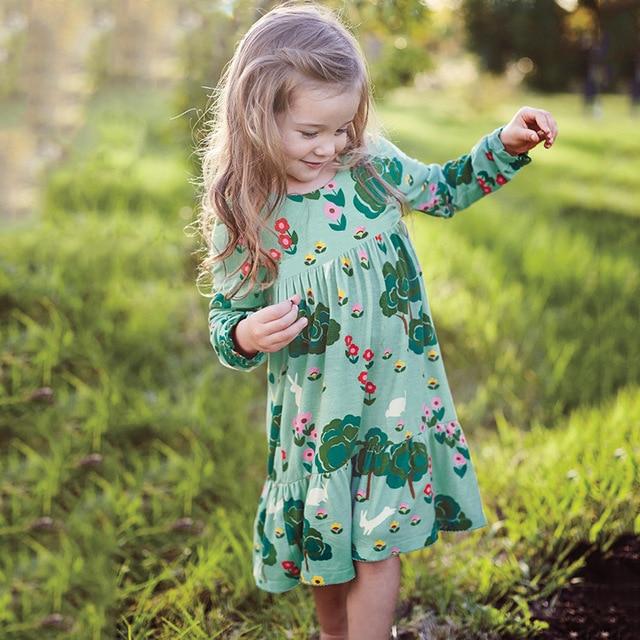 2017 Brand Kids Dresses for Girls Baby Girls Dress Autumn Clothes Vestiods Animal Appliques Princess Dress Children Christmas