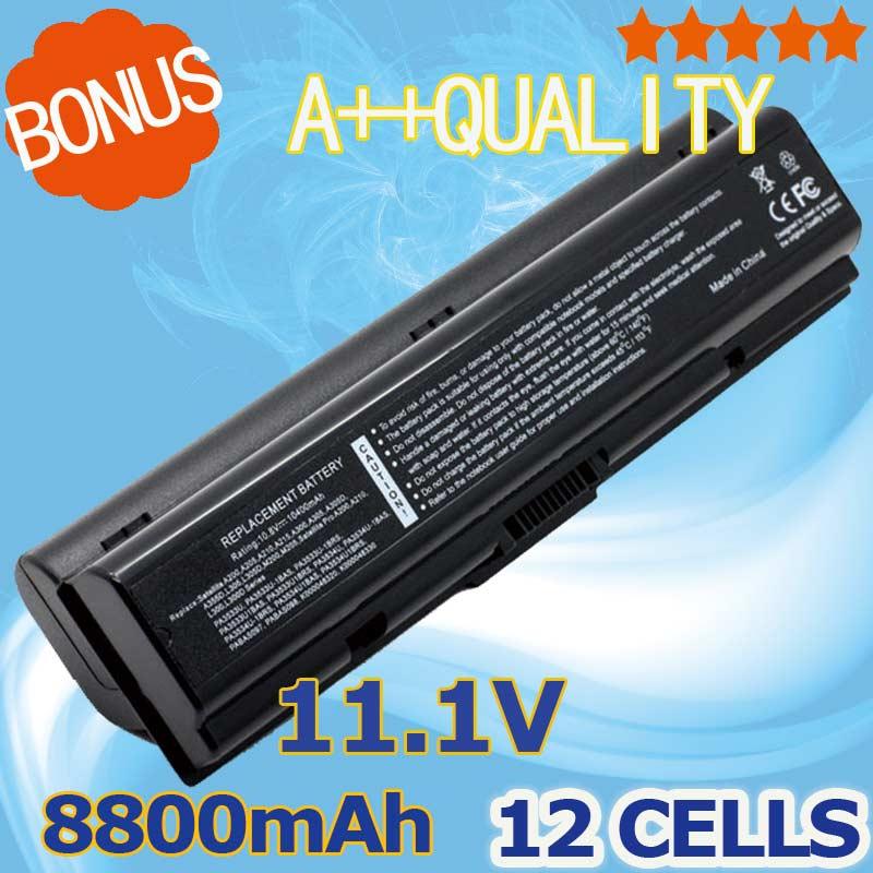 8800mAH laptop battery For Toshiba pa3534 3534 pa3534u PA3534U-1BAS PA3534U-1BRS Satellite A300 A500 L200 L300 L500 L550 L555 slik u 8800