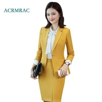 ACRMRAC Women's suit New Spring and autumn Solid color Slim Single Breasted Blazers skirt Business OL Formal Skirt Suits
