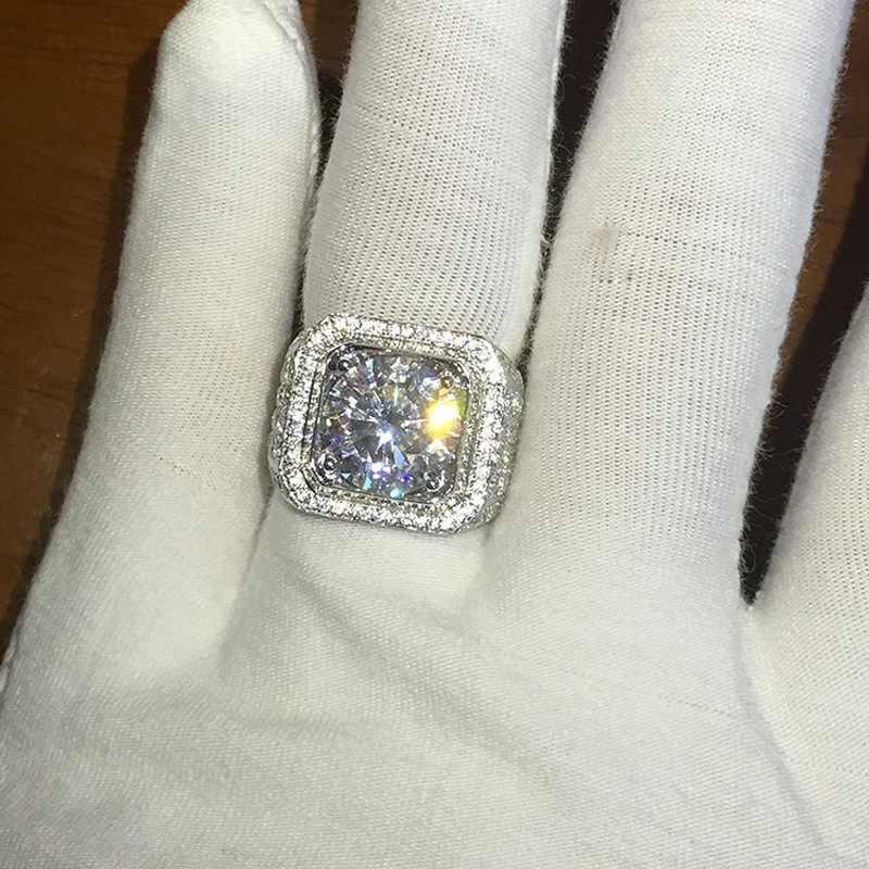 HOMOD Micro Pave CZ งานแต่งงานแหวน Hip Hop Bling รอบรูปร่าง COOL Street ผู้ชาย Bling Iced OUT CZ แหวน