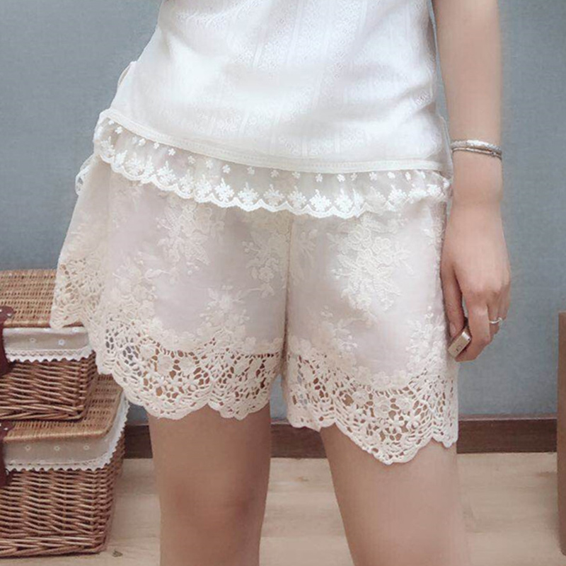 Japanese Summer Lace Embroidery Shorts Women Mori Girl Solid Color Wide Leg Hollow Out Casual Sweet Loose Buttoming Shorts Z029