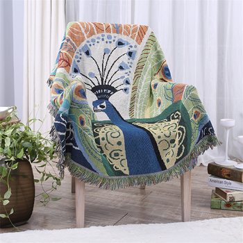New Quality Thick Cotton Line Blanket Peacock Thread Knit Super Soft Blanket On The Bed Multi-functional Sheets For Sofa Blanket