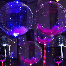 18 pulgadas de 3 metros luminoso Led globos transparente globos de helio feliz decoraciones de fiesta de cumpleaños de los niños de la boda globos LED