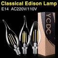 C35 LED Filament Light Glass Led Bulb Lamp E12 E14 110/220V 8W Real Power Chandelier Crystal Lighting Dimmer Hotel Living Lights