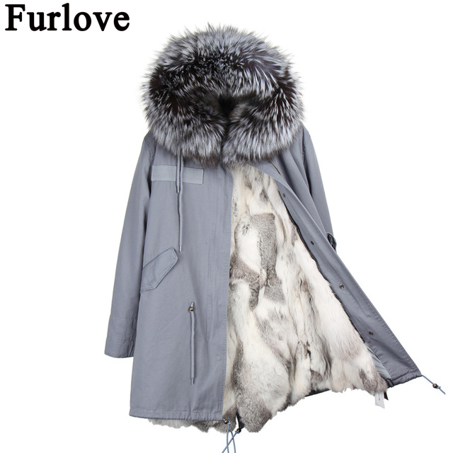 Furlove  Fashion women's army green Large raccoon fur collar hooded long coat parkas outwear rex rabbit fur liner winter jacket new 2017 jott jacket winter women parka long coat large real raccoon fur collar faux rabbit fur liner army green casual outwear
