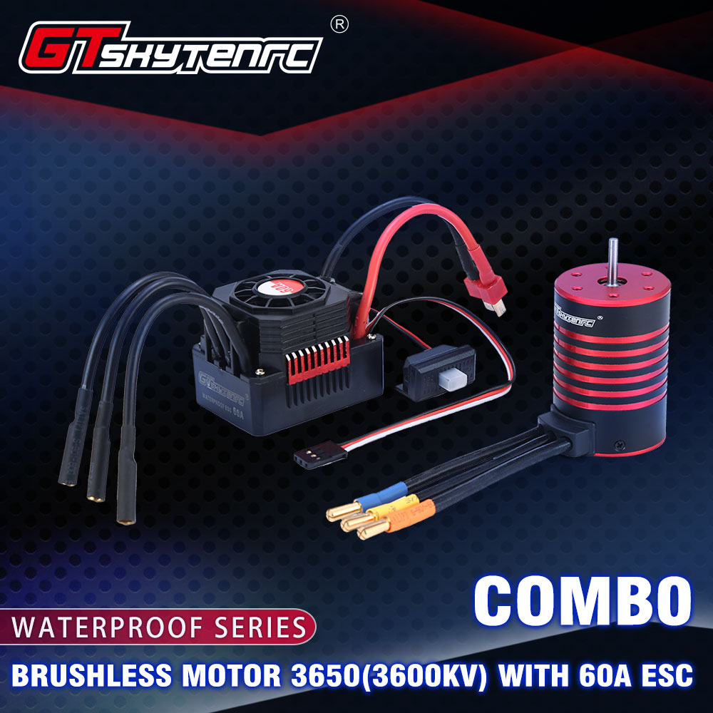 Gtskytenrc combo de densidade de água, 3650 3600kv 5200kv, motor sem escova com/refrigerador 60a esc para rc 1 /10 rc carro carro