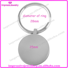 Custom Engrave!! Wholesale Personalised Stainless Steel Round Blank Pendant Cremation Jewelry Key Chain for Women Men