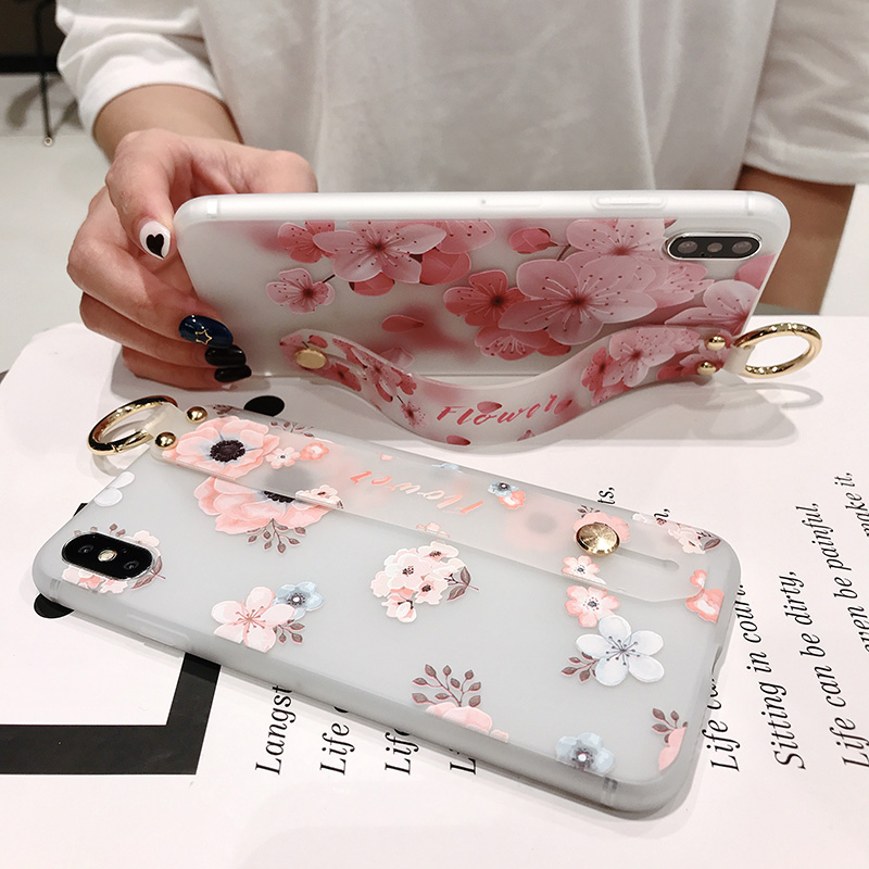 Wristband case For iPhone 7 6 7p 8plus 6p 10 X XS XR xs max Peach blossom pattern soft tpu Translucent pink flower in Half wrapped Cases from Cellphones Telecommunications