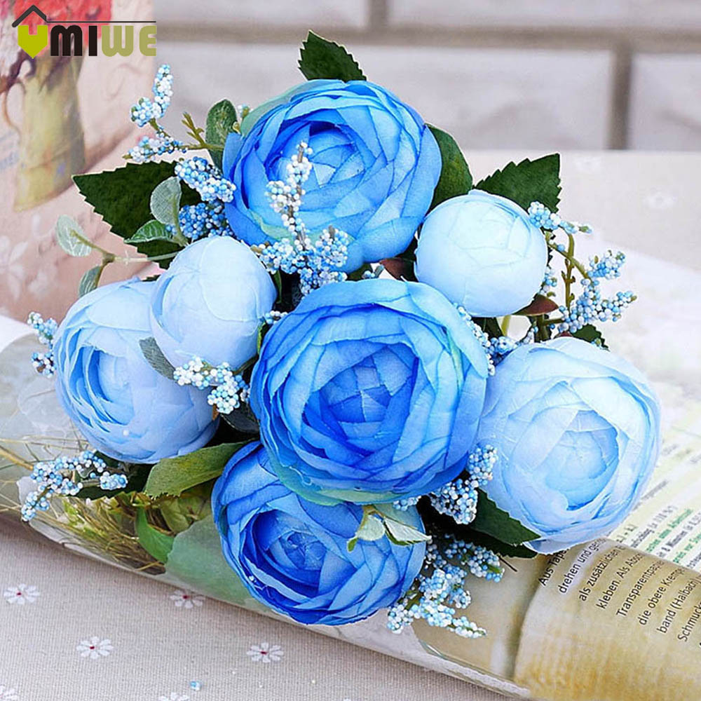 Home Decor 5 Heads Tea Roses Bunquet Fake Vivid Silk Camellia Artificial Flowers Rose Real Touch Peony For Wedding Decoration