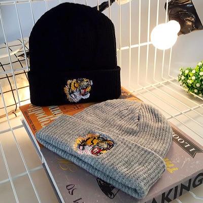 % Solide Baumwolle Sticken Tiger Beanies Ski Stricken Hüte Winter Männer Frauen Warm Halten Hüte Snapback Kappe Hip Hop Hüte Unisex Skullie