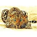 Sin marco leopardo animales bricolaje pintura by números de acrílico imagen lienzo arte de la pared pintura decoración del hogar regalo único 40x50 cm ilustraciones