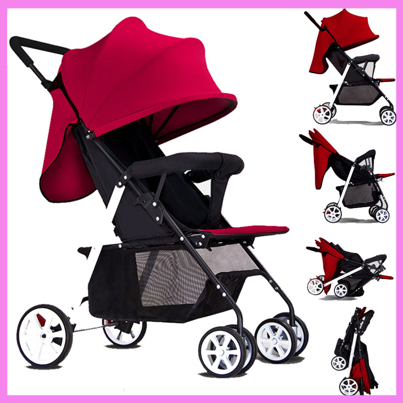 Small Volume Lightweight Portable Four Wheels Baby Stroller for Newborn Folding Umbrella Travel Airplane Baby Carriage Stroller hot sale multi function ultra light baby stroller for children four wheels folding poussette pram for newborn infant carriage