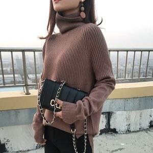 Image 2 - Suéter de cuello alto de alta calidad para mujer, Jersey de invierno, suéter de Cachemira, suéter de punto sólido, moda de otoño