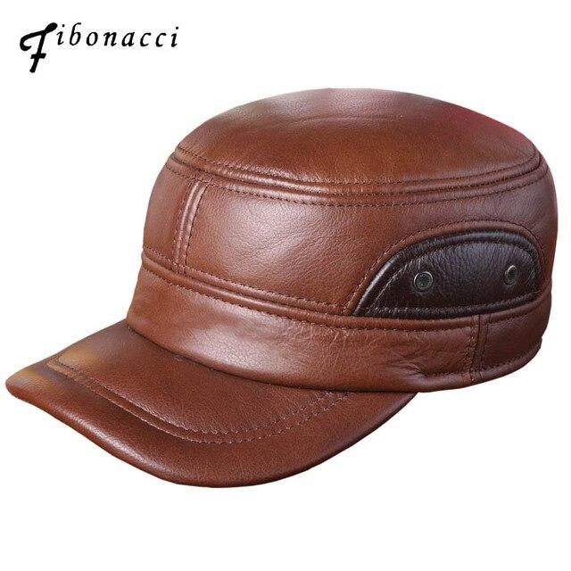 9729a75852928 Fibonacci alta calidad de mediana edad hombres gorra de béisbol de cuero de  vaca adulta patchwork