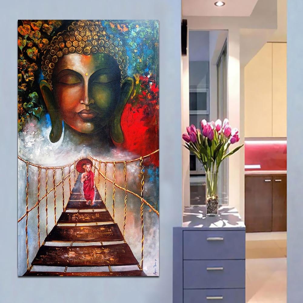 Buddhist Monk Meditation Canvas Print Painting Framed Home Decor Wall Art Poster