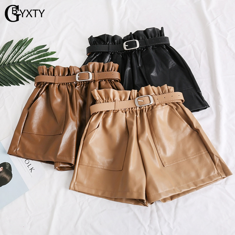 GBYXTY   short   taille haute femme Womens Autumn Winter PU Faux Leather   Shorts   Mujer High Waist Wide Leg   Shorts   With Belt ZA1270