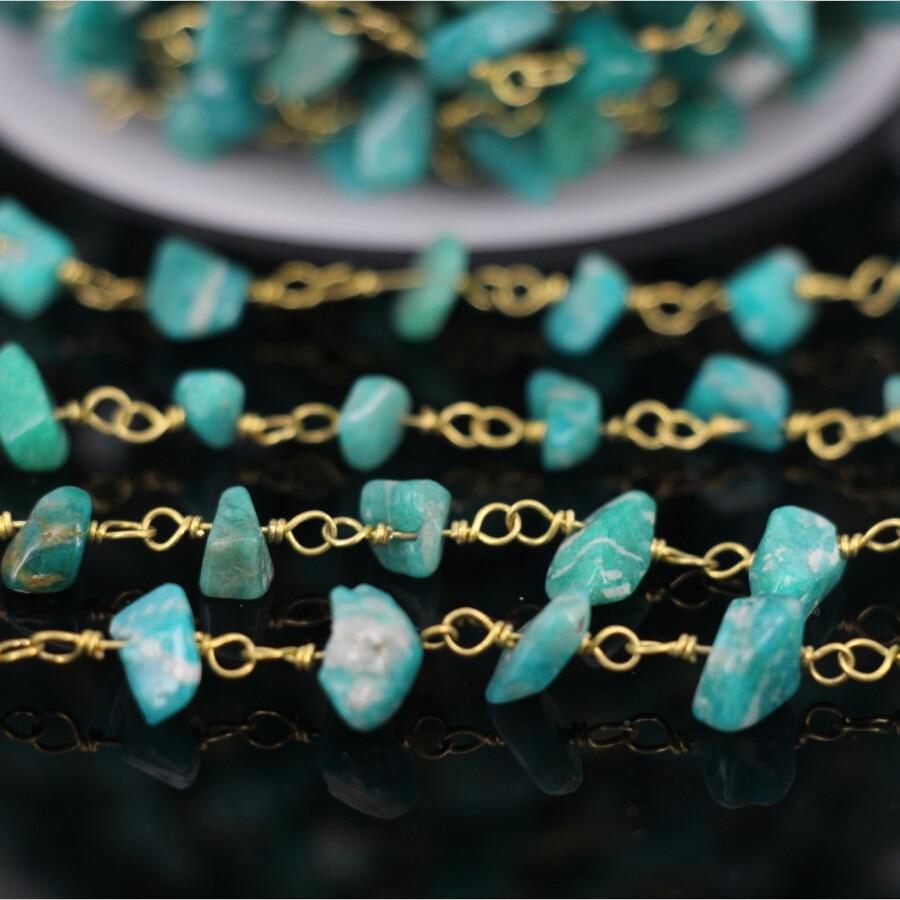 5Meter,Natural Peruvian Amazonite Chip Beads Rosary Chain,Gold ...