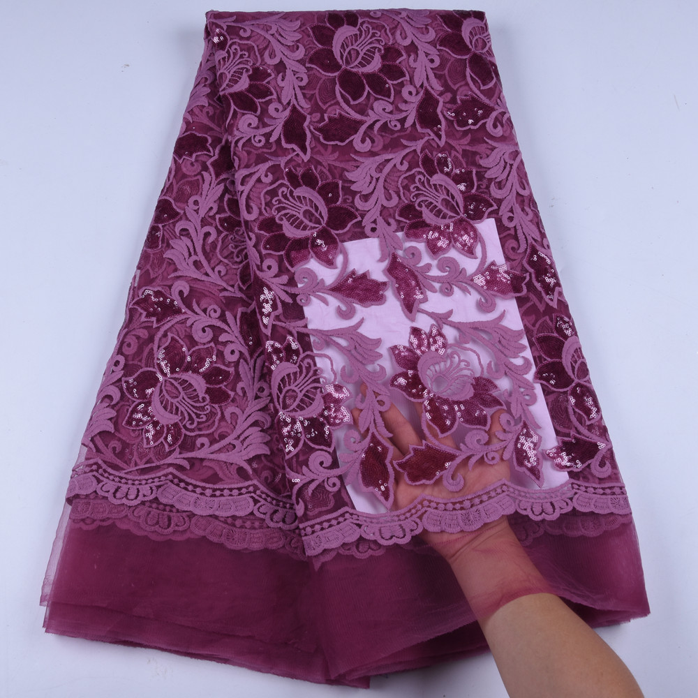 2019 Latest French Nigerian Laces Fabrics Onion Lilac High Quality Mesh Lace African Laces Fabric African