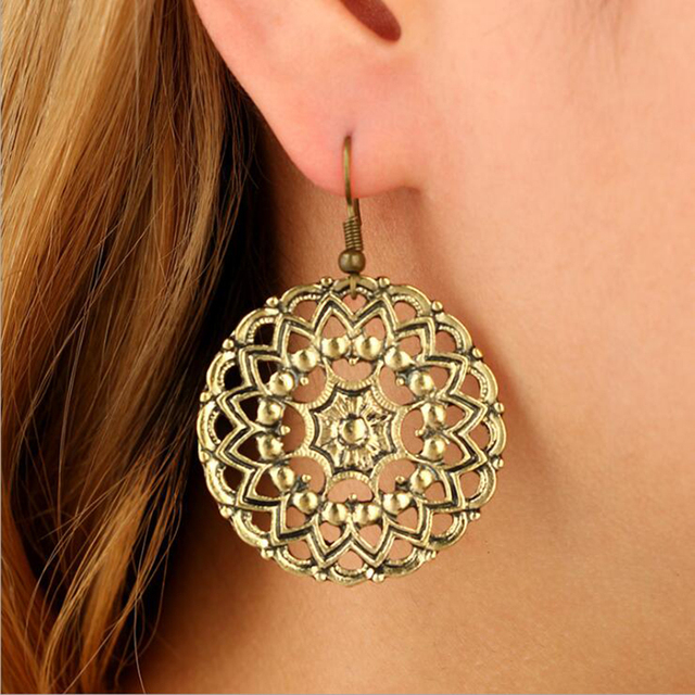 Fashion Vintage Ethnic Boho Gold Silver Big Hollow Tassel Earrings For  Women Indian Jewelry Animal Carved Statement Earrings 8afec63a4293