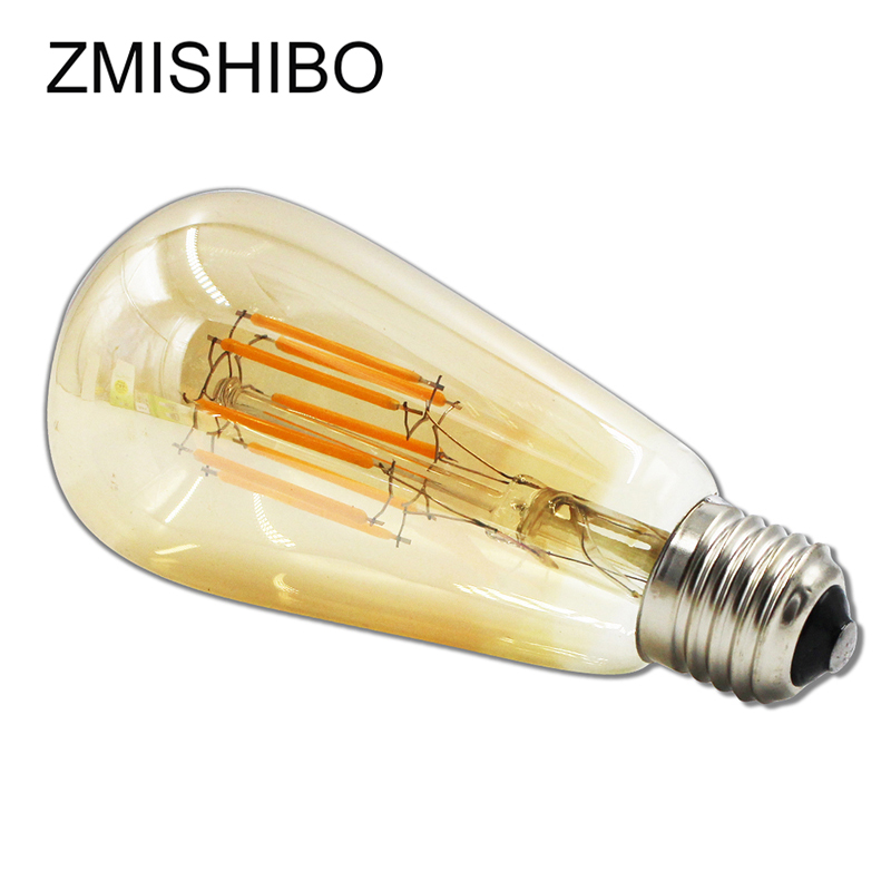 ZMISHIBO Ambre ST64 LED Filament Ampoule Dimmable 220 v 230 v 8 w E27 NXP IC Pilote Blanc Chaud 2700 k Rétro Source de Lumière Pendentif Lampe