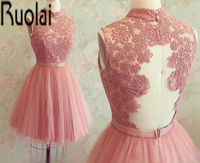 Cheap 2015 Hot Sale High Neck Special Occasion Gowns Pink Ball Gown Lace Applique Prom Short