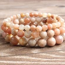 LanLi 6/8/10mm fashion natural Jewelry faceted sunstone beads Bracelet DIY Charms Men Strand Beads Yoga Women Bracelets