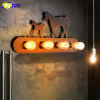 FUMAT Loft Pony Wall Lamps American Industrial Retro Wall Light Bedroom Beside Light Iron Creative Horse Wall Sconce