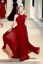 2016 Elie Saab Design Abendkleid Weinrot Bodenlangen Chiffon Cocktailparty-kleider Robe De Mariage Heißer Verkauf MY1008-28