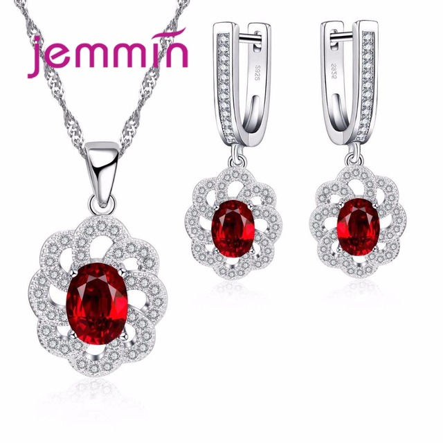 Jemmin Fine 925 Silver Jewellery Sets Wedding Ruby Necklace Earrings For Brides Flower Hollow Out Engagement