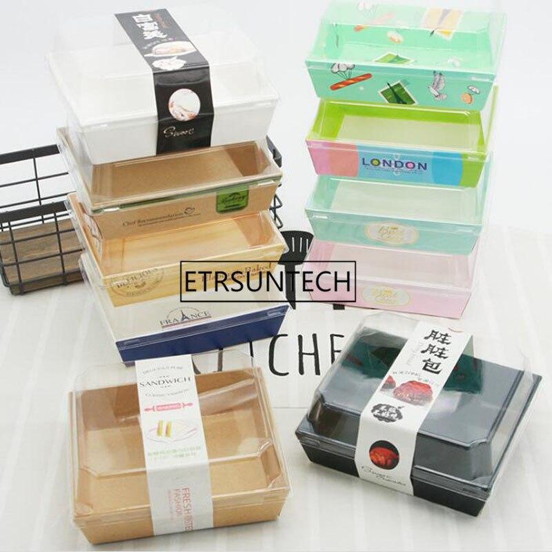 500sets Sandwich Box Salad Dessert Hotdog Cake Packaging Boxes With Transparent Lids Kraft Cardboard Paper Gift Box