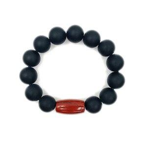"""Image 3 - LiiJi unikalny matowy czarny onyks czerwony Jaspers mężczyźni lub kobiety bransoletka 9 """"z jedwabnym pudełku mężczyzn biżuteria Leo miłośników energii bransoletka równowagi"""