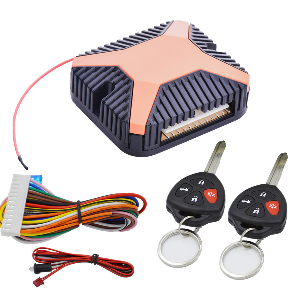 Keyless Entry Central Locking System Universal With Car Alarm System Remotr Trunk Release Window Outpu With 2 Remote Control