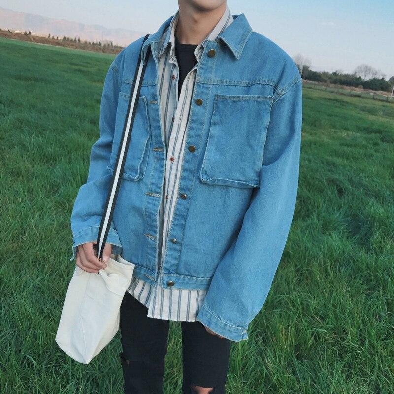 Spring 2017men selling vintage wash light blue denim jacket male leisure personality a pale blue coat