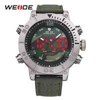 WEIDE 2017 Luxury Brand Watch Men Nylon Band Quartz Watches Black Green Digital LED Military Analog