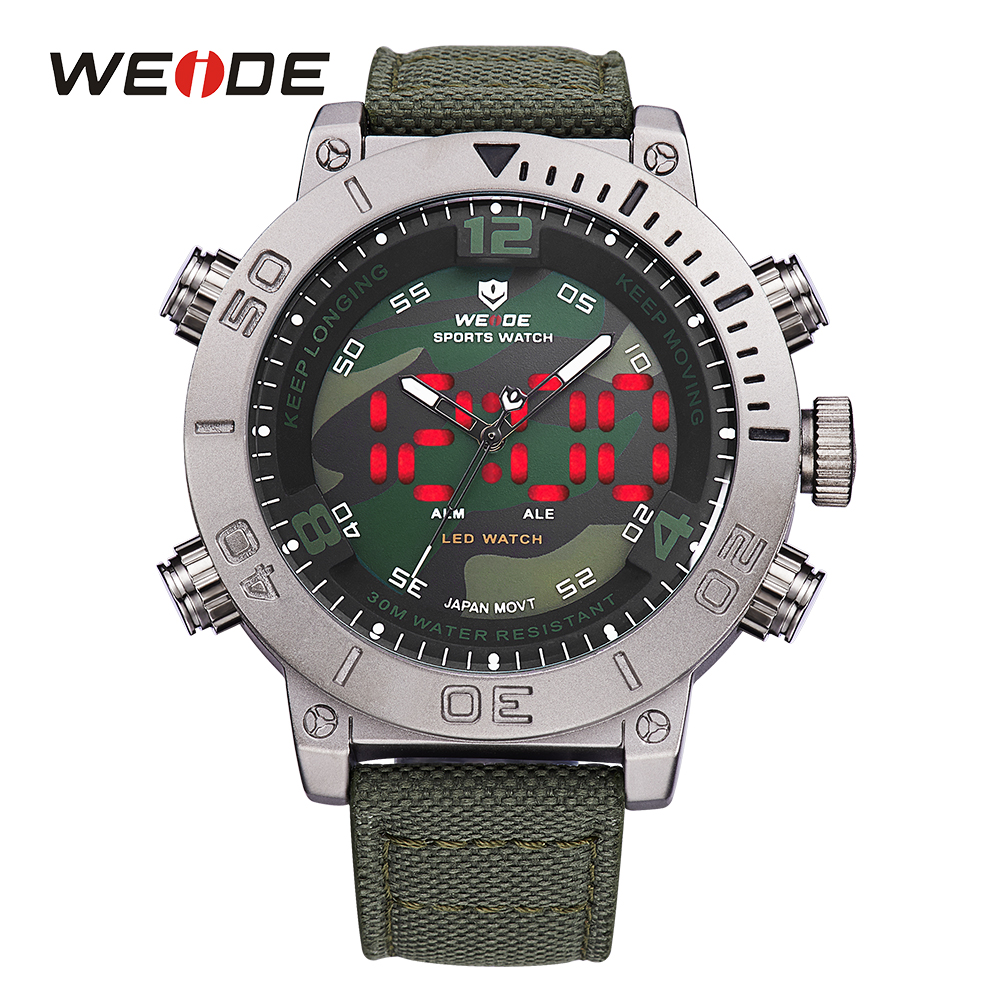 WEIDE 2018 Luxury Brand Watch Men Nylon Band Quartz Watches Black Green Digital LED Military Analog Wristwatch Army Masculino men s military style fabric band analog quartz wrist watch black 1 x 377