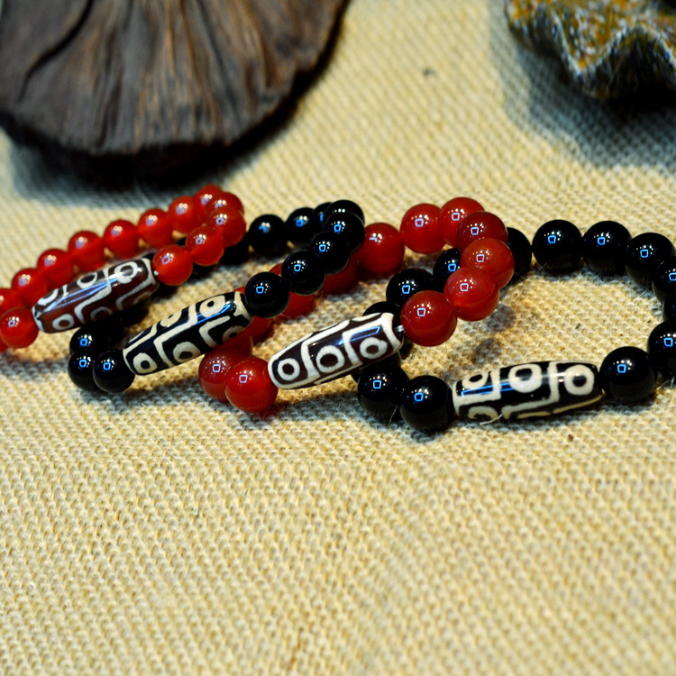 A+ Natural Stone Dzi Bead Bracelet Tibetan Style  8mm/10mm  Red And Black Color For Couples Great Gifts High Quality