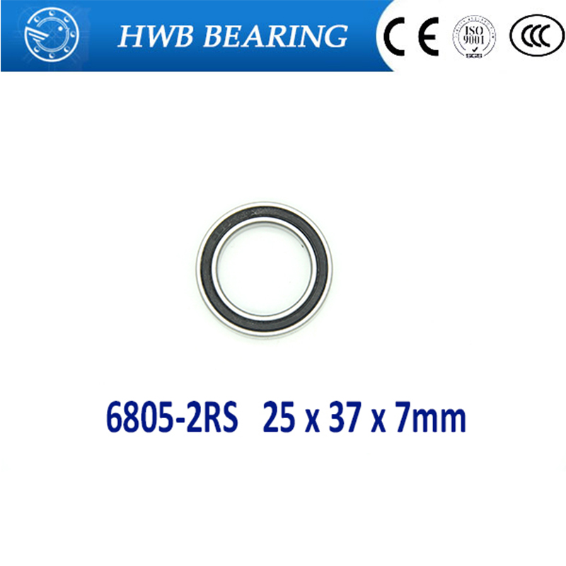 Free shipping 5pcs 6805-2RS 6805RS  6805 rs 25 x 37 x 7mm Metric Thin Section Deep Groove Ball Bearings